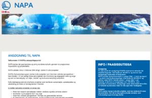 Skærmbillede af NAPAs ansøgningsmodul